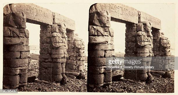 A stereoscopic photograph of Osirisstyle columns depicting Ramesses II at the Temple of Gerf Hussein near Aswan Egypt taken in 1859 by Francis Frith...
