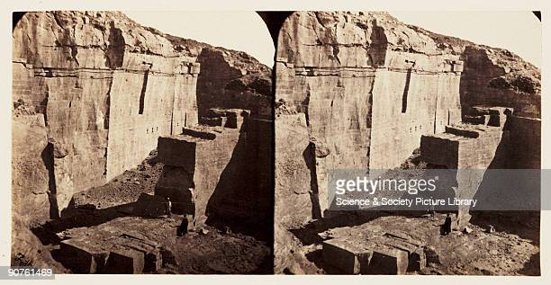 A stereoscopic photograph of the ancient sandstone quarries at Gebel elSilsila near Aswan Egypt taken in 1859 by Francis Frith This image is from a...
