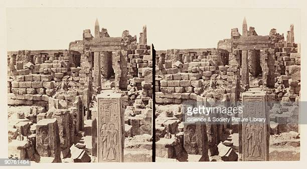 A stereoscopic photograph of the central avenue at the Temple of Karnak in Thebes Egypt taken in 1859 by Francis Frith This image is from a series of...