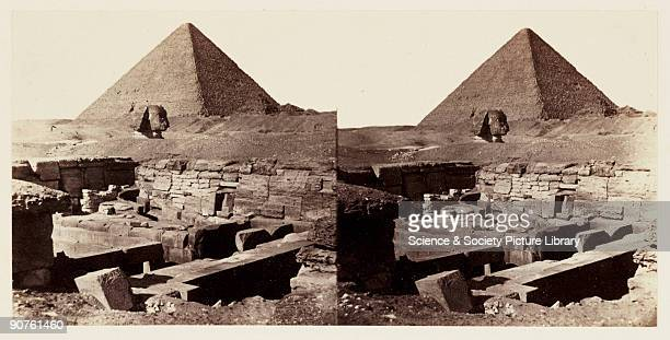 A stereoscopic photograph of the Great Pyramid and Sphinx at Giza Egypt taken in 1859 by Francis Frith This is from a series of one hundred...