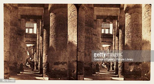 A stereoscopic photograph of the interior of the Great Hypostyle Hall at Karnak Egypt taken in 1859 by Francis Frith This image is from series of one...