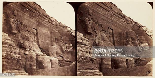 A stereoscopic photograph of the massive statues carved into the rock at the temple of Rameses II at Abu Simbel Egypt taken in 1859 by Francis Frith...