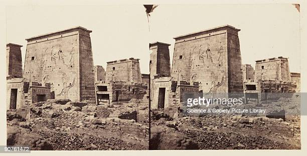 A stereoscopic photograph of the pylons or monumental entrance to the Temple of Isis on the Island of Philae Aswan Egypt taken in 1859 by Francis...