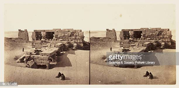 A stereoscopic photograph of the ruined Temple of Kom Ombo Egypt partly buried in sand taken in 1859 by Francis Frith This image is from a series of...