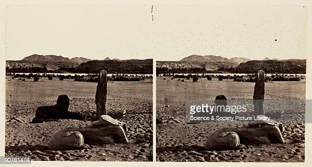 A stereoscopic photograph of two sphinxes in the desert at Wadi el Seboua Egypt taken in 1859 by Francis Frith This image is one of a series of one...