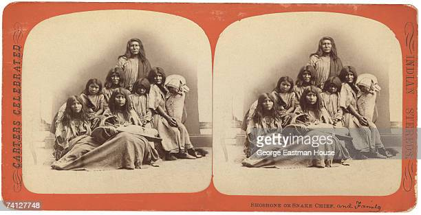 Stereoscopic portrait of an unidentifed chief and his family from the Shoshone people late 1860s or 1870s