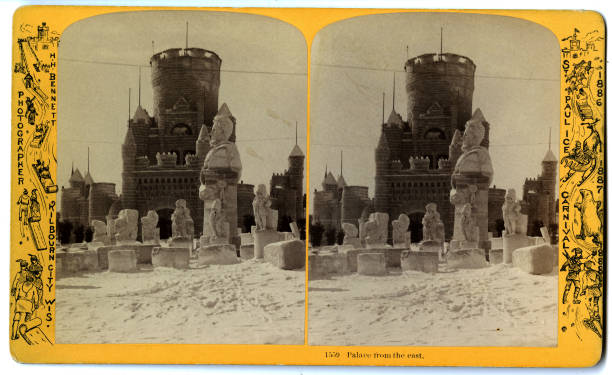Stereoscopic view entitled 'Palace from the East' at the St Paul Ice Carnival St Paul Minnesota 1886
