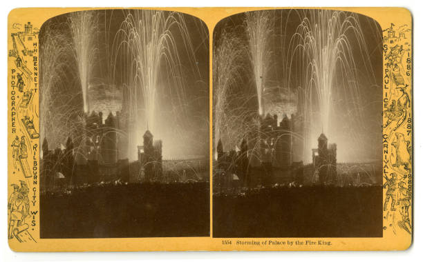 Stereoscopic view entitled 'Storming of Palace of the Fire King' depicts fireworks during the St Paul Ice Carnival St Paul Minnesota 1886