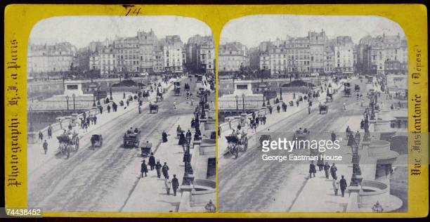 Stereoscopic view looking south across le Pont Neuf which spans the Seine River Paris France 1860s The Quai des GrandsAugustins is visible in the...