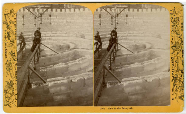 Stereoscopic view of a labyrinth at St Paul Ice Carnival St Paul Minnesota 1886