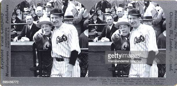 Stereoscopic view of actor Joe E Brown and Cubs pitcher Lon Warneke during the World Series at Wrigley Field Chicago Illinois October 1932