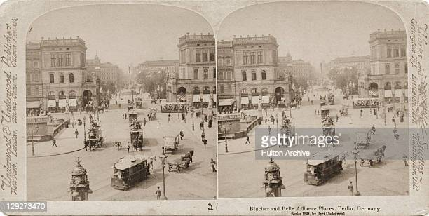 A stereoscopic view of horsedrawn trams and other traffic on BelleAlliancePlatz Berlin 1894