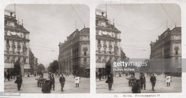A stereoscopic view of pedestrians on Potsdamer Platz Berlin 1906