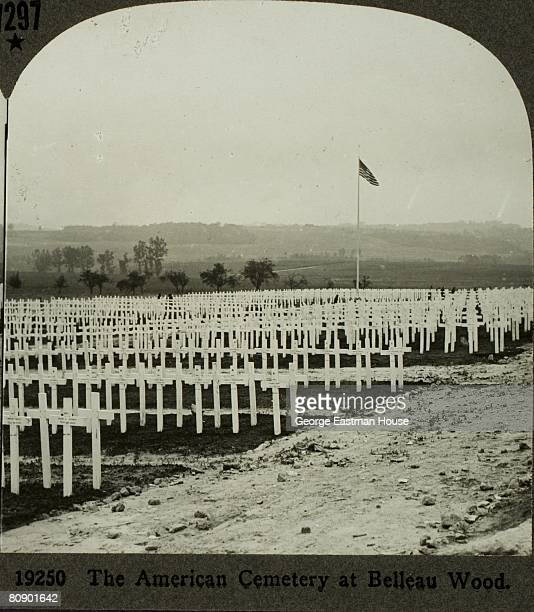 """Stereoscopic view of the American cemetery at Aisne/Marne, accompanied by text that reads """"The American cemetery at Belleau Wood"""", The site is..."""