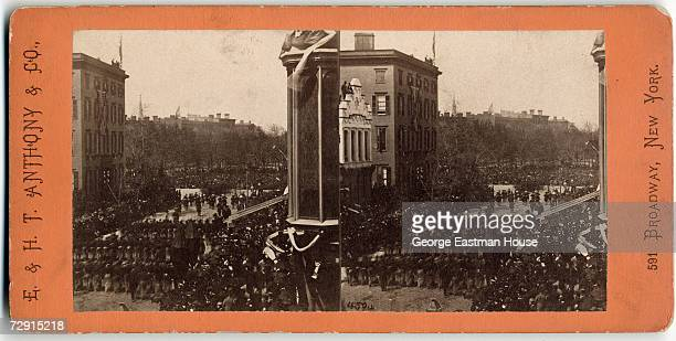 Stereoscopic view of the funeral procession of assassinated American President Abraham Lincoln as it passes through the streets of New York New York...