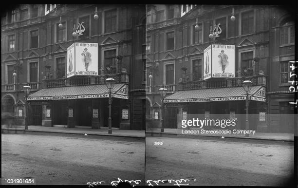 A stereoscopic view of the Lyric Theatre on Shaftesbury Avenue London August 1895 Signs advertise a George Edwardes production of the musical 'An...