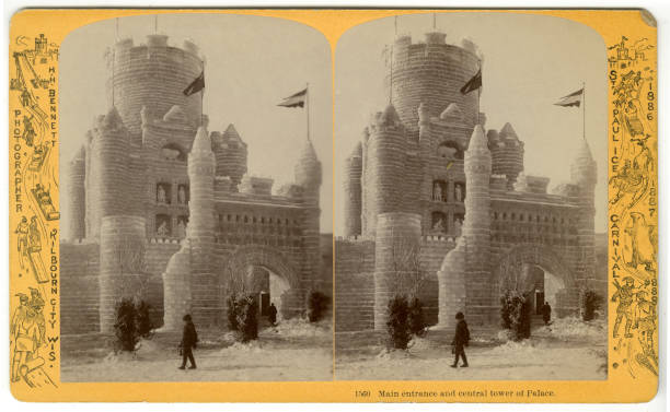 Stereoscopic view of the 'Main Entrance and Central Tower of Palace' at the St Paul Ice Carnival St Paul Minnesota 1886