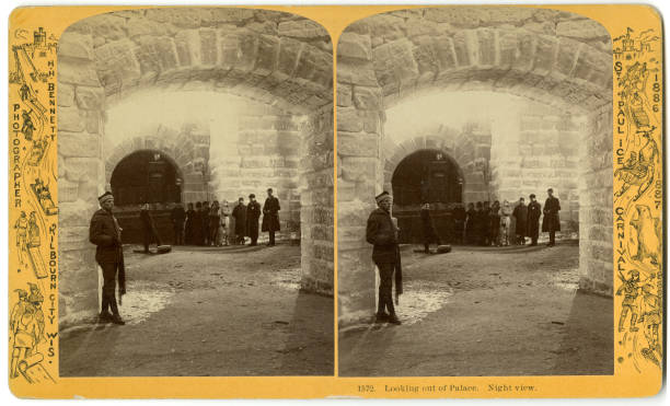 Stereoscopic view of the' palace' entrance at the St Paul Ice Carnival St Paul Minnesota 1886