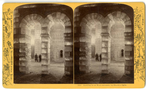 Stereoscopic view of the west 'palace' entrance at the St Paul Ice Carnival St Paul Minnesota 1886