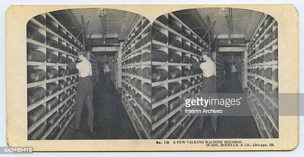 Stereoscopic view showing a section of the Sears Merchandise Building devoted to gramophone records Chicago Illinois circa 1900s At the time Sears...