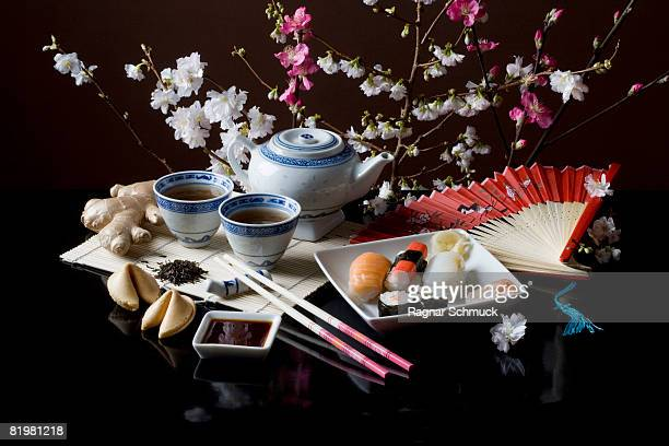 Stereotypical Japanese culture and food still life