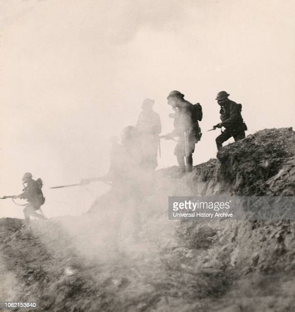 Stereoview WW1, The Great War Realistic Travels Military photographs circa 1918 Under cover of gas and smoke the British break through Serre and...