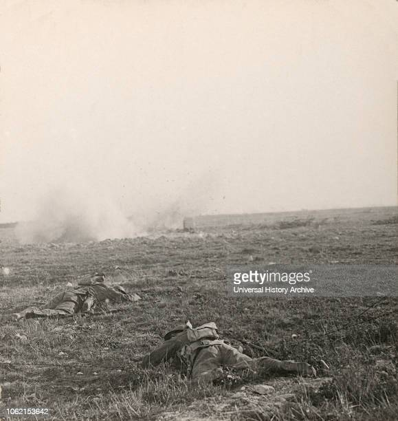 Stereoview WW1, The Great War Realistic Travels Military photographs circa 1918 Cautiously working their way across the shell swept plains of Picardy...
