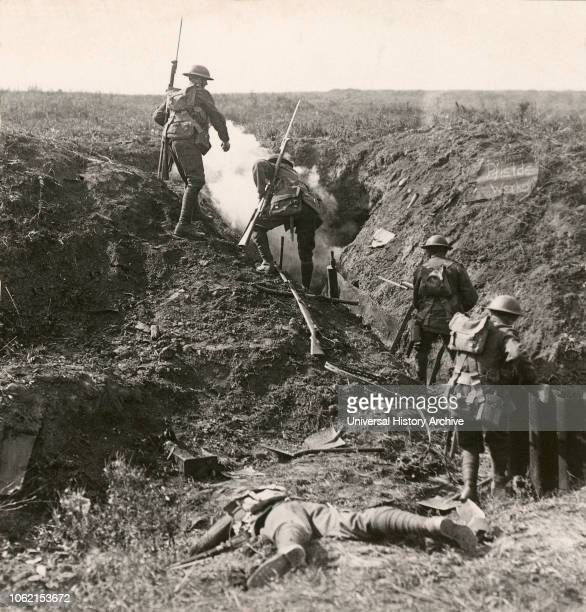 Stereoview WW1 The Great War Realistic Travels Military photographs circa 1918 Bombing the Germans out of their deep dugouts at Martinpuich during...
