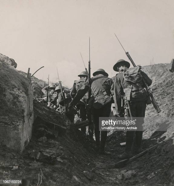 Stereoview WW1, The Great War Realistic Travels Military photographs circa 1918 Reinforcements going forward through communication trenches to...
