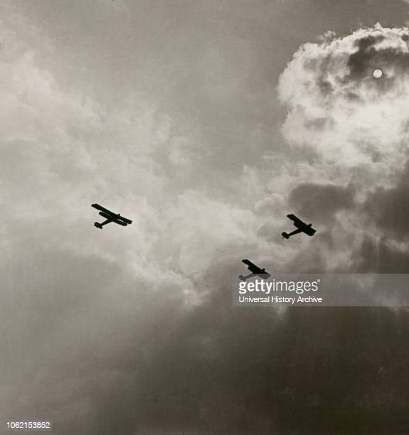 Stereoview WW1, The Great War Realistic Travels Military photographs circa 1918 A squadron of giant planes off on a moon-light raid to bomb...