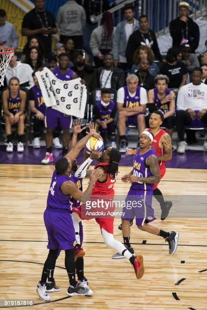 Sterling Brim of Team Lakers blocks Quavo of Team Clippers during the 2018 NBA AllStar Celebrity Game as part of AllStar Weekend at the Los Angeles...