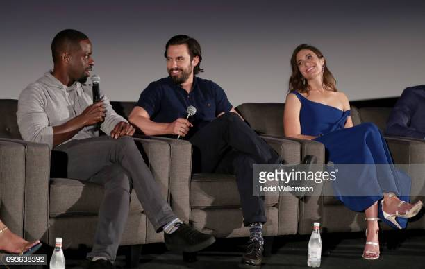 Sterling Brown Milo Ventimiglia and Mandy Moore attend 20th Century Fox Television NBC's 'This Is Us' FYC Screening And Panel at The Cinerama Dome on...