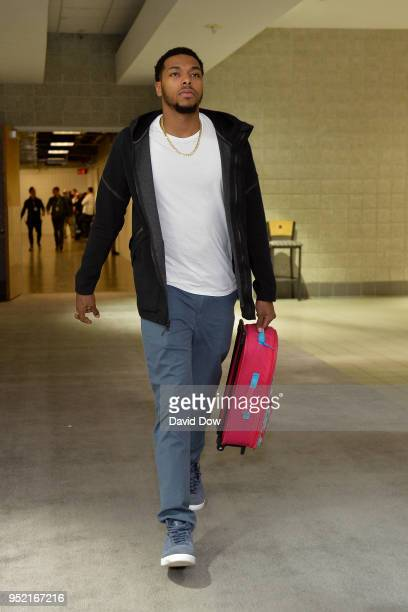 Sterling Brown of the Milwaukee Bucks arrives to the arena prior to Game Six of Round One of the 2018 NBA Playoffs against the Boston Celtics on...