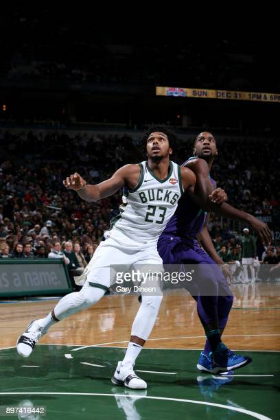 Sterling Brown of the Milwaukee Bucks boxes out during the game against the Charlotte Hornets on December 22 2017 at the Bradley Center in Milwaukee...