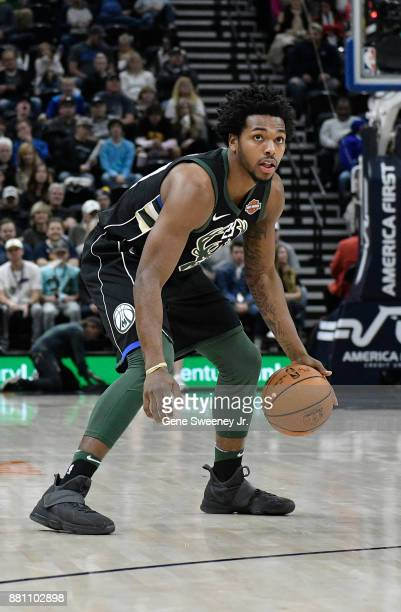 Sterling Brown of the Milwaukee Bucks controls the ball against the Utah Jazz during their game at Vivint Smart Home Arena on November 25 2017 in...