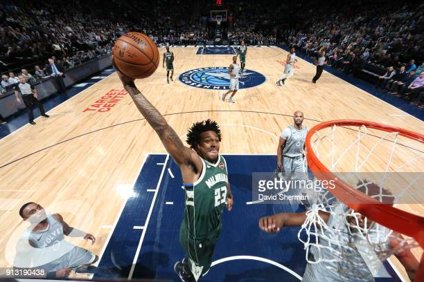 Sterling Brown of the Milwaukee Bucks drives to the basket against the Minnesota Timberwolves on February 1 2018 at Target Center in Minneapolis...