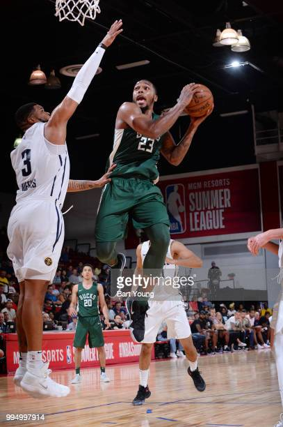 Sterling Brown of the Milwaukee Bucks drives to the basket during the game against the Denver Nuggets during the 2018 Las Vegas Summer League on July...