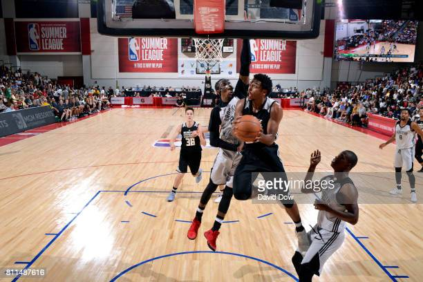 Sterling Brown of the Milwaukee Bucks goes for a lay up during the game against the Brooklyn Nets during the 2017 Las Vegas Summer League on July 9...