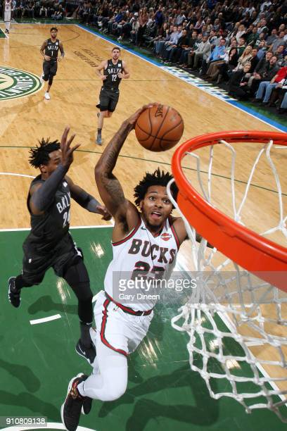 Sterling Brown of the Milwaukee Bucks goes to the basket against the Brooklyn Nets January 26 2018 at the BMO Harris Bradley Center in Milwaukee...