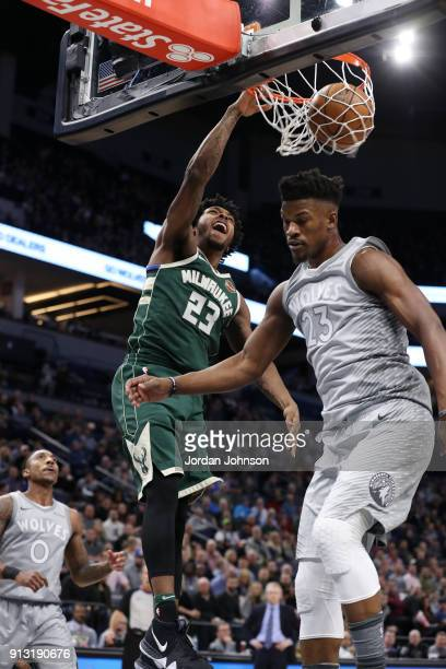 Sterling Brown of the Milwaukee Bucks goes up for a dunk against the Minnesota Timberwolves on February 1 2018 at Target Center in Minneapolis...