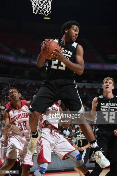 Sterling Brown of the Milwaukee Bucks grabs the rebound against the Cleveland Cavaliers on July 7 2017 at the Thomas Mack Center in Las Vegas Nevada...