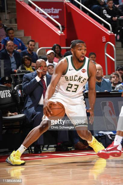 Sterling Brown of the Milwaukee Bucks handles the ball against the Detroit Pistons during Game Four of Round One of the 2019 NBA Playoffs on April 22...