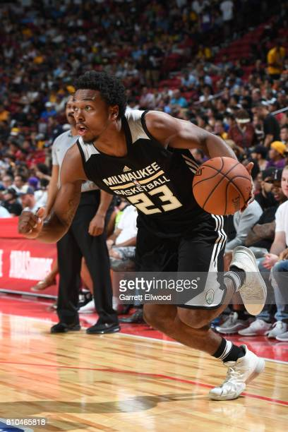 Sterling Brown of the Milwaukee Bucks handles the ball against the Cleveland Cavaliers on July 7 2017 at the Thomas Mack Center in Las Vegas Nevada...
