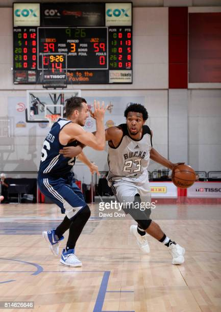 Sterling Brown of the Milwaukee Bucks handles the ball against the Utah Jazz during the 2017 Summer League on July 14 2017 at Cox Pavillion in Las...