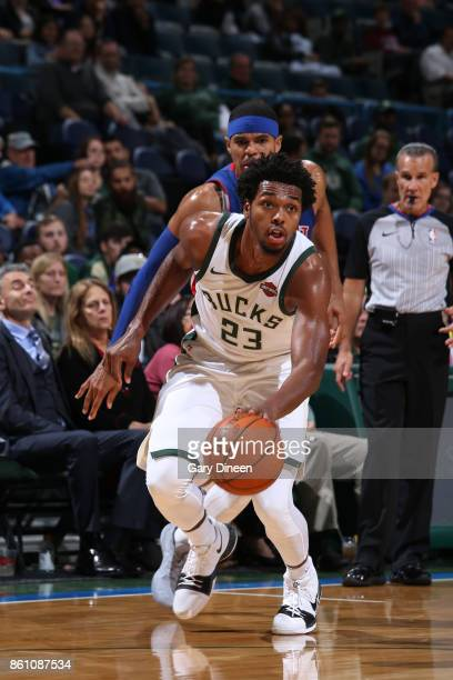 Sterling Brown of the Milwaukee Bucks handles the ball against the Detroit Pistons on October 13 2017 at the BMO Harris Bradley Center in Milwaukee...