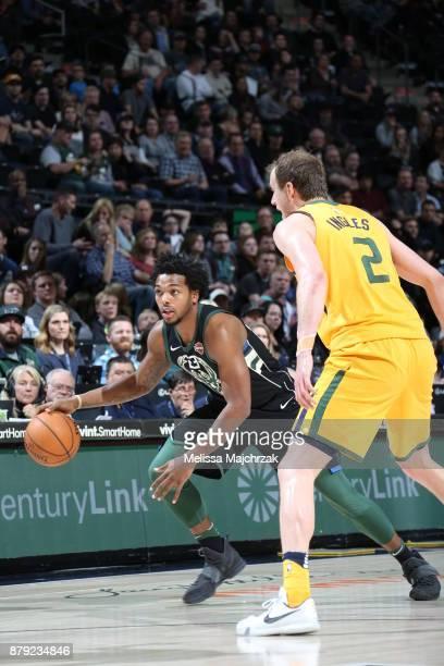 Sterling Brown of the Milwaukee Bucks handles the ball against the Utah Jazz on November 25 2017 at vivintSmartHome Arena in Salt Lake City Utah NOTE...