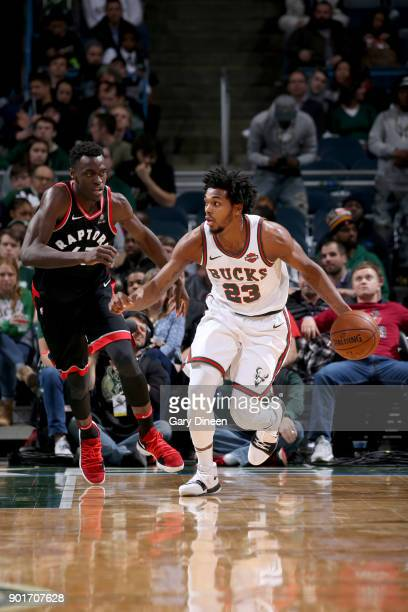 Sterling Brown of the Milwaukee Bucks handles the ball against the Toronto Raptors on January 5 2018 at the BMO Harris Bradley Center in Milwaukee...