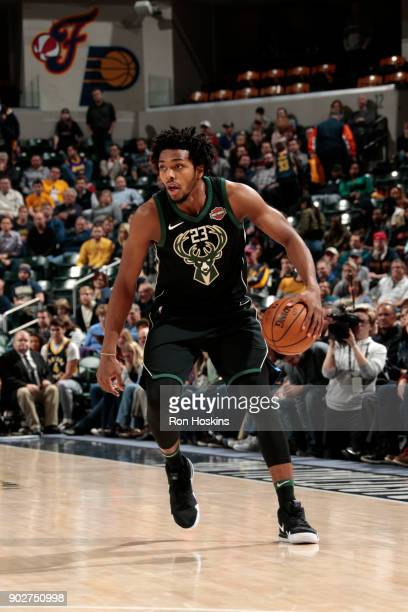 Sterling Brown of the Milwaukee Bucks handles the ball against the Indiana Pacers on January 8 2018 at Bankers Life Fieldhouse in Indianapolis...