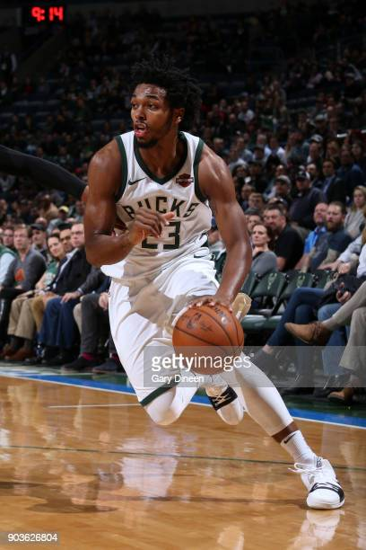 Sterling Brown of the Milwaukee Bucks handles the ball against the Orlando Magic on January 10 2018 at the BMO Harris Bradley Center in Milwaukee...