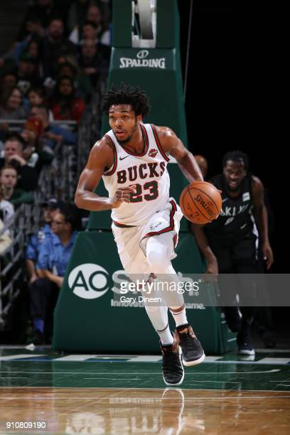 Sterling Brown of the Milwaukee Bucks handles the ball against the Brooklyn Nets on January 26 2018 at the BMO Harris Bradley Center in Milwaukee...